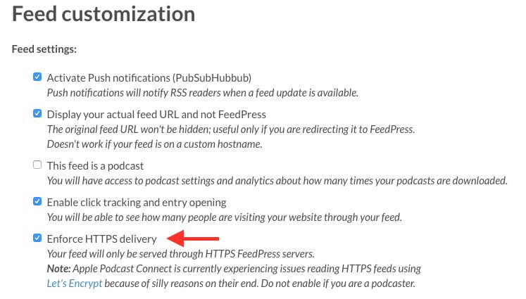 SSL feed settings