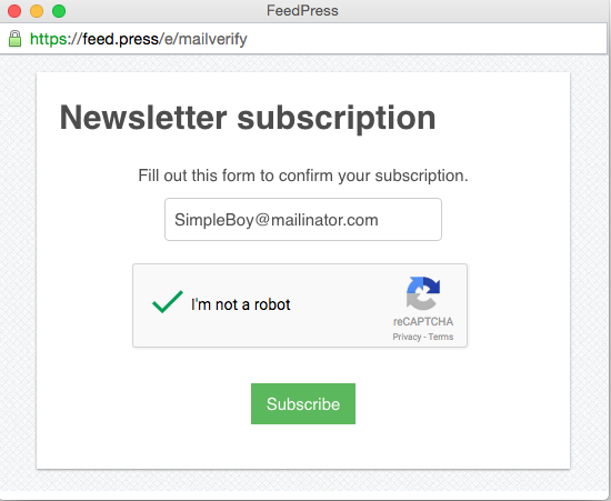 FeedPress subscribe form