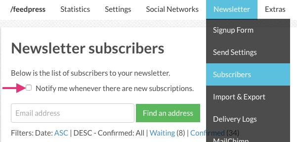 Newsletter notifications