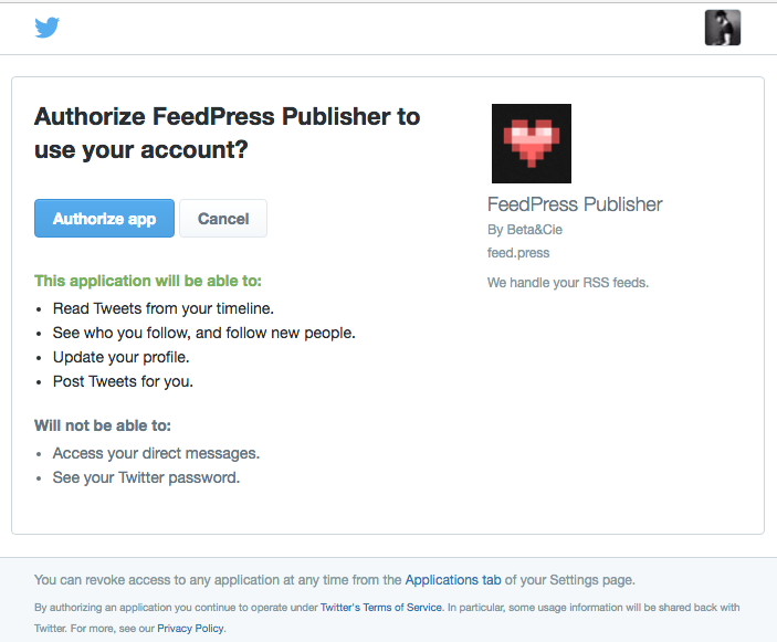 Authorize FeedPress